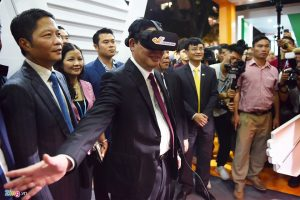 A media event that uses virtual reality with the participation of politicians